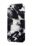 Чехол Белый мрамор с черным фатином для всех моделей телефонов