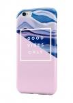 Чехол Нежно-розовый и голубые волны для всех моделей телефонов