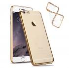 Силиконовый чехол с золотым ободком для iPhone