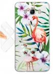 Силиконовый чехол Фламинго в цветах