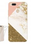 Чехол для Xiaomi Mi A1 Мрамор глиттер